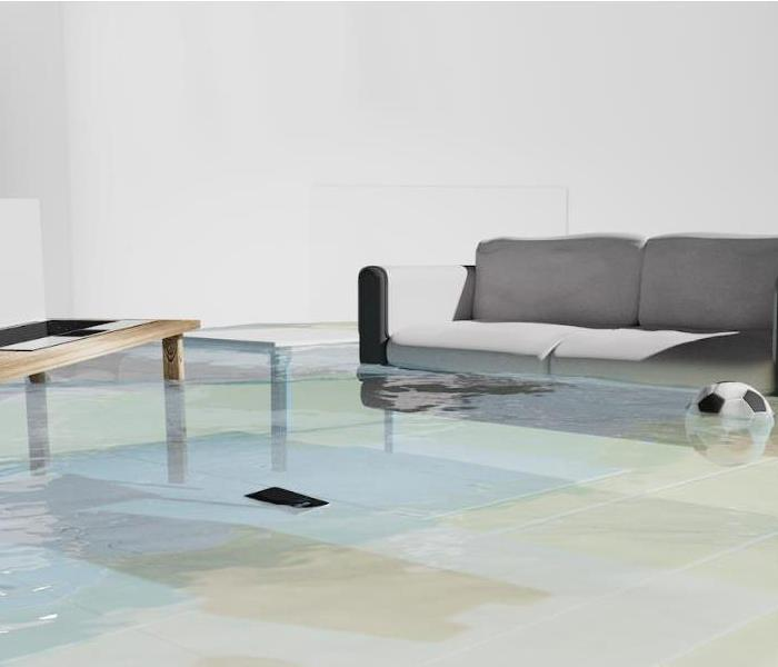 flooded living room with couch and coffee table