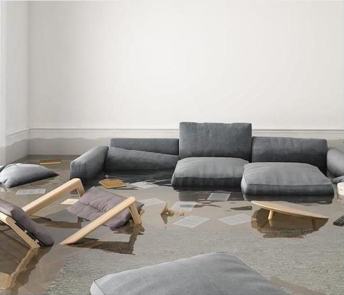 living room submerged in standing water